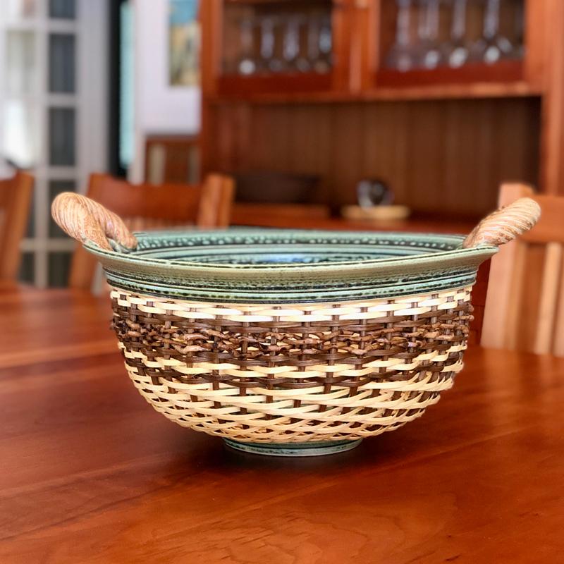 Large Ceramic & Reed Bowl by Stephen Kostyshyn