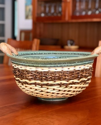 Large Ceramic & Reed Bowl by Stephen Kostyshyn