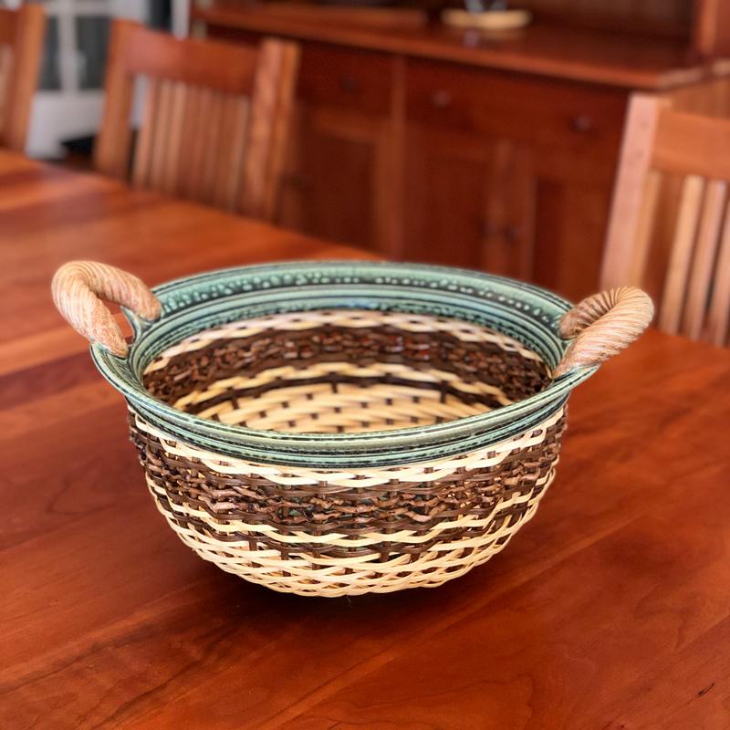 Large Ceramic & Reed Bowl