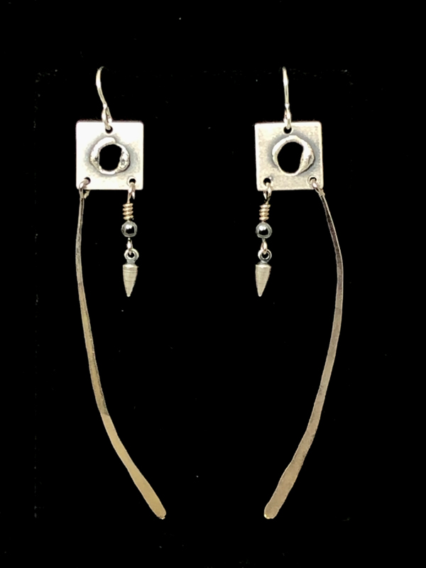 Silver Square Long Earrings by Lochlin Smith