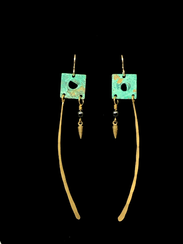Square Long Earrings in Teal Gold