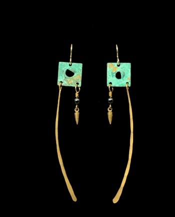 teal and gold long square earrings