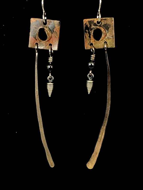 Brown Silver Long Square Earrings by Lochlin Smith