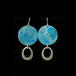 Blue Silver Oval Drop Earrings by Lochlin Smith