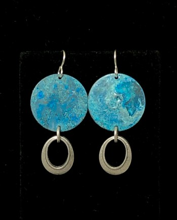 Blue Silver Oval Drop Earrings by Lochlin Smith