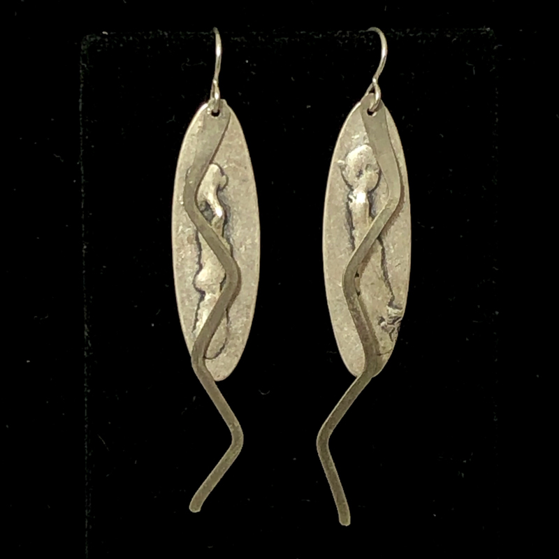 Silve on Silver ZigZag Earrings