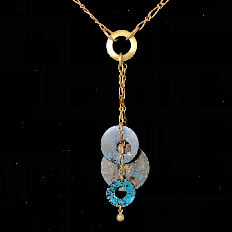 Blue Brass 3 Disc Drop Necklace
