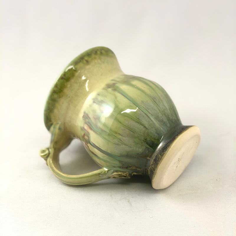 bottom view of footed handmade ceramic mug