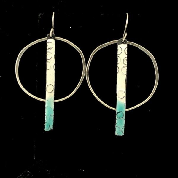 enameled steel sticks with hoops, handmade