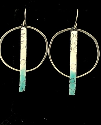 Enameled Steel Stick Hoops in Aqua and White