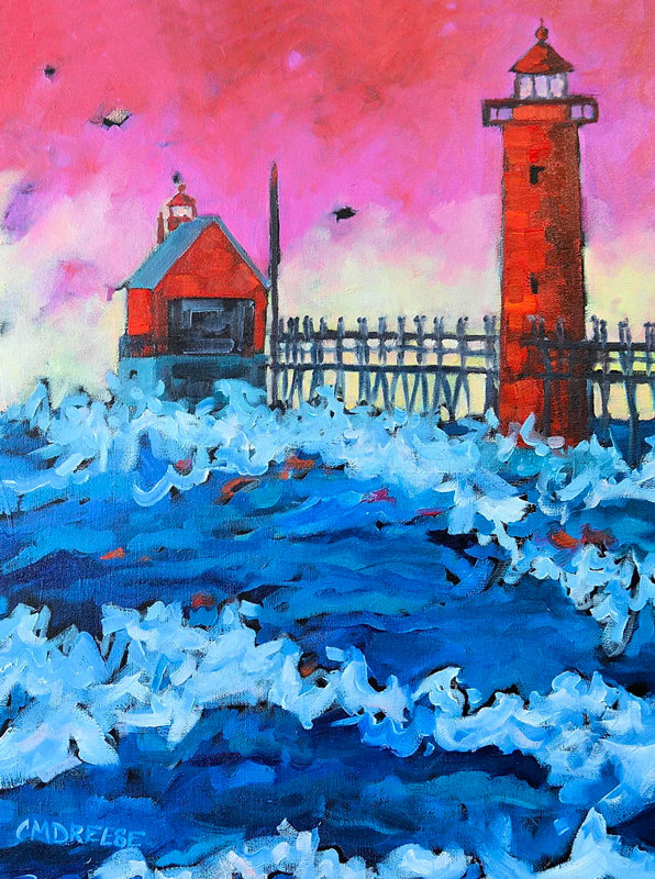 Grand Haven Lighthouse Sunset Painting by Christi Dreese