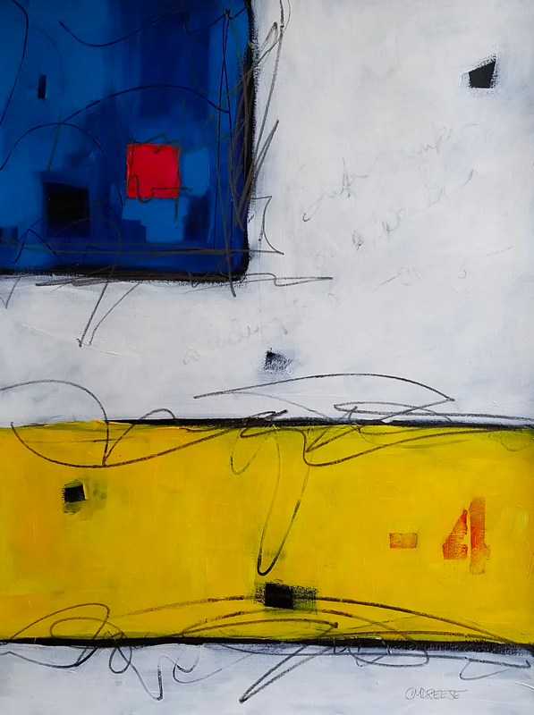 original abstract painting with blue, white, yellow, red and black