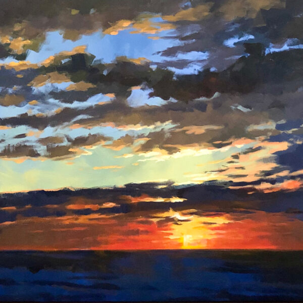 original acrylic painting of a lake michigan sunset by Mark Mehaffey