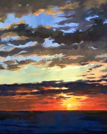 original acrylic painting of a lake michigan sunset by Mark Mehaffey