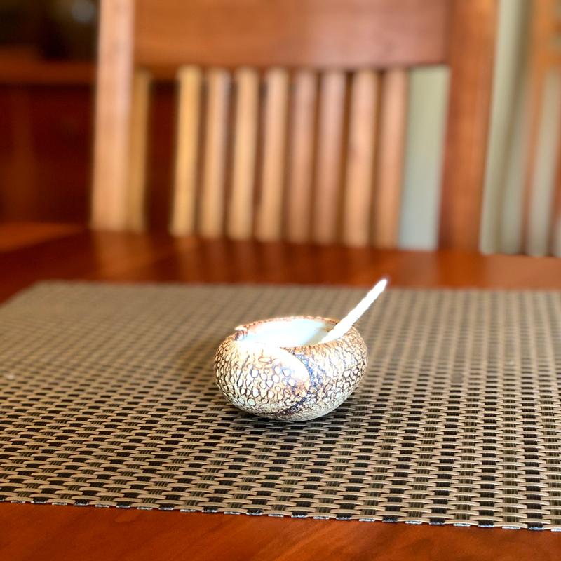 little handmade salt nest with a tiny spoon