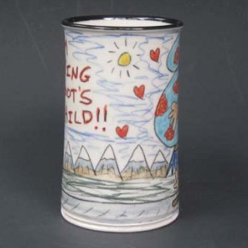 side view of Big Foots Love Child mug by Tom Edwards