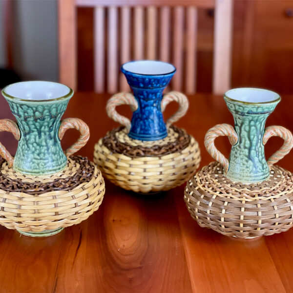 Small Ceramic & Reed Vases by Stephen Kostyshyn