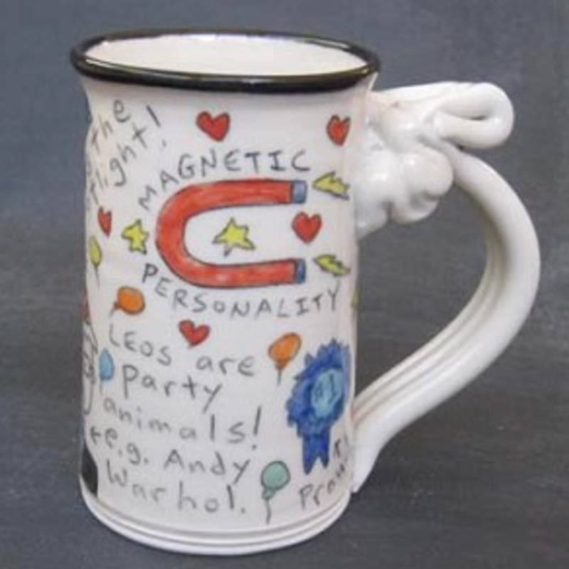 side view of leo astrological mug by Tom Edwards