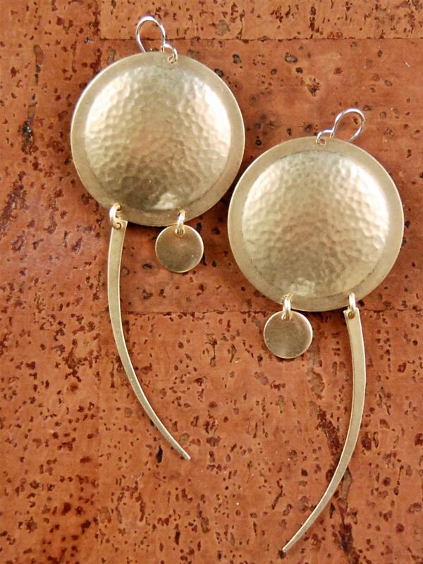 handmade shield earrings in gold finish
