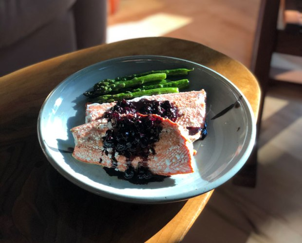 salmon recipe with Michigan blueberries served on a julie devers platter