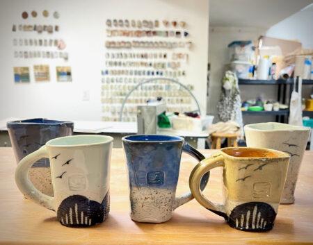 beach mugs by Cyndi Casemier