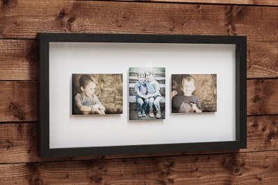 "Mirage Frame - 40""x20"" - Frame = Black / Mount Board = White - 4"" Outside / 1"" in Between Images"