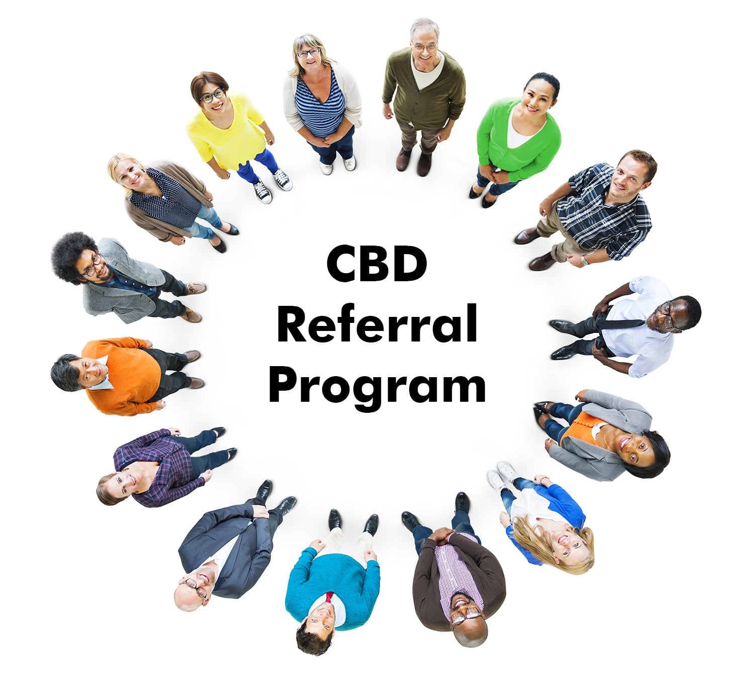 Diverse people standing in a circle with words CBD Referral Program in the center