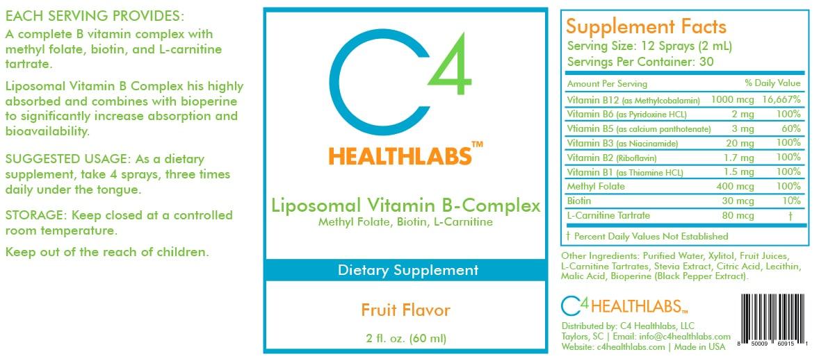 C4 Healthlabs Liposomal Vitamin B-Complex with Methyl Folate, Biotin, and L-Carnitine Nutritional Label