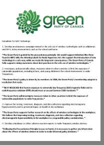 Réponse du Parti Vert Élection 2015 Canadiens et les technologies sécuritaire