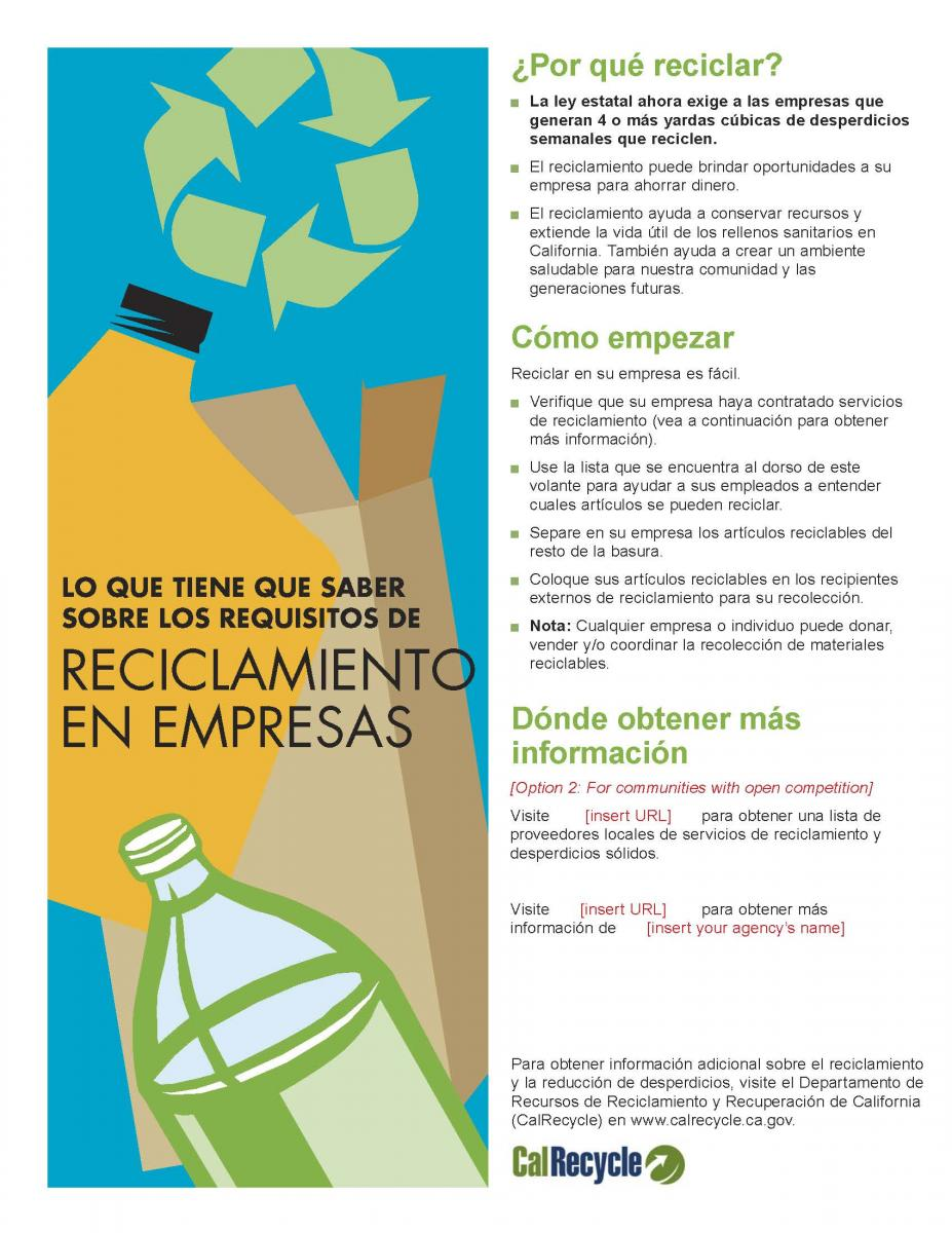 English And Spanish Language Commercial Recycling Flyer Templates