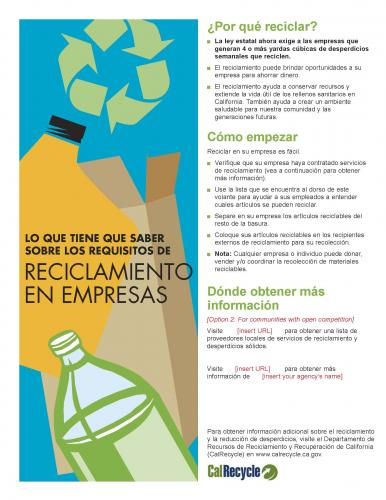 English And Spanish Language Commercial Recycling Flyer