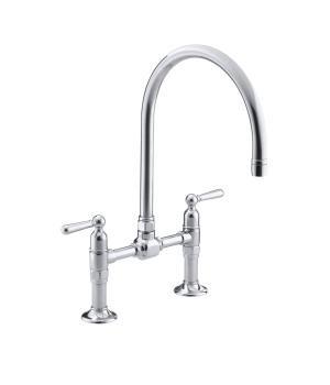 bridge faucets kitchen pictures for the kohler canada k 7337 4 hirise two hole deck mount sink faucet with 10 1 gooseneck spout and lever handles