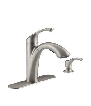 four hole kitchen faucets plaques kohler canada k r72510 sd mistos 4 faucet with 11 pull out spout and soap