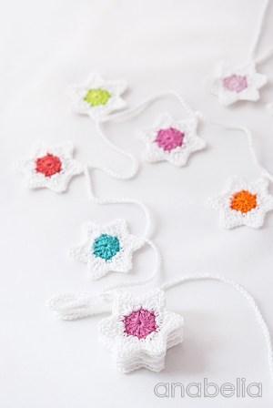 Six-pointed stars crochet garland free pattern by Anabelia 11