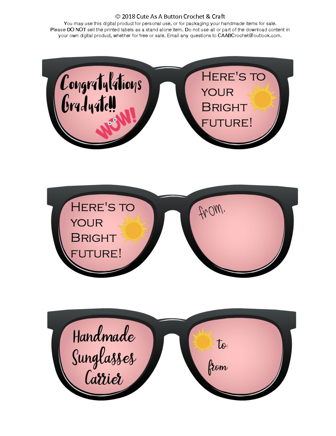 picture about Printable Sunglasses identify Sungles Provider Printable - Lovable As A Button Crochet Craft