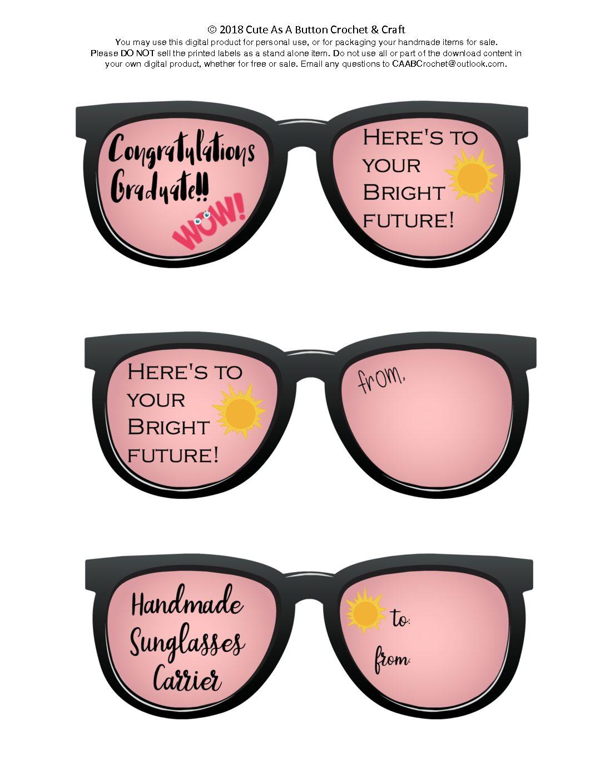 graphic regarding Sunglasses Printable called Sungles Provider Printable - Adorable As A Button Crochet Craft