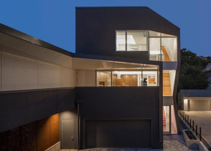 Contemporary residences facade black stucco concrete with