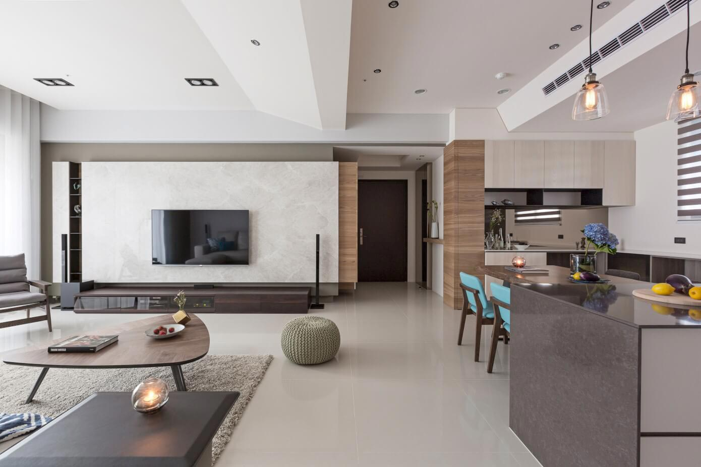 best interior design for living room 2017 colors with dark furniture simple and elegant apartment in taipei by hozo ...