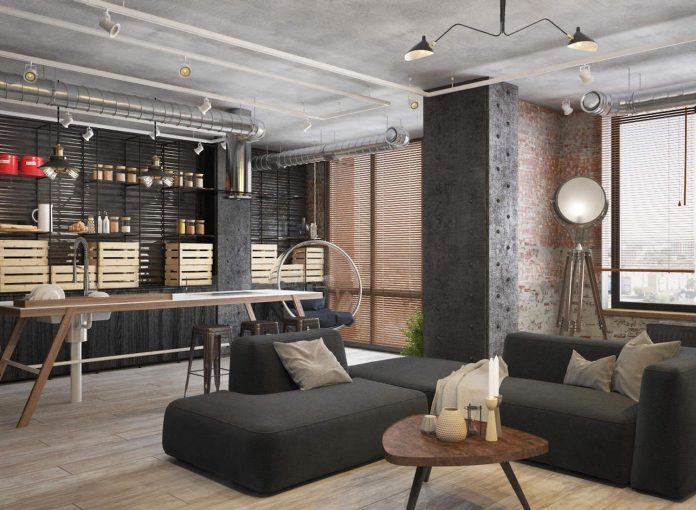 Industrial apartment located in Moscow visualized by