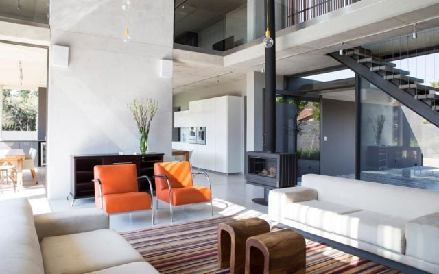 Minimalist home with separate functional areas for the