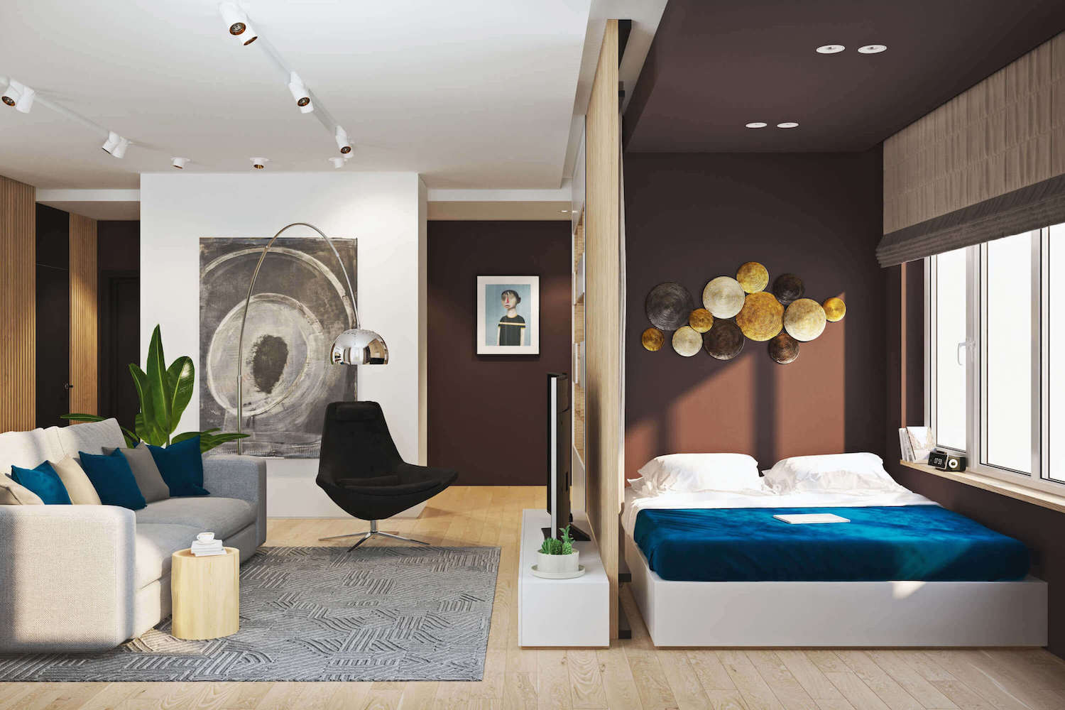 Modern Two Room Flat Designed To Create An Additional