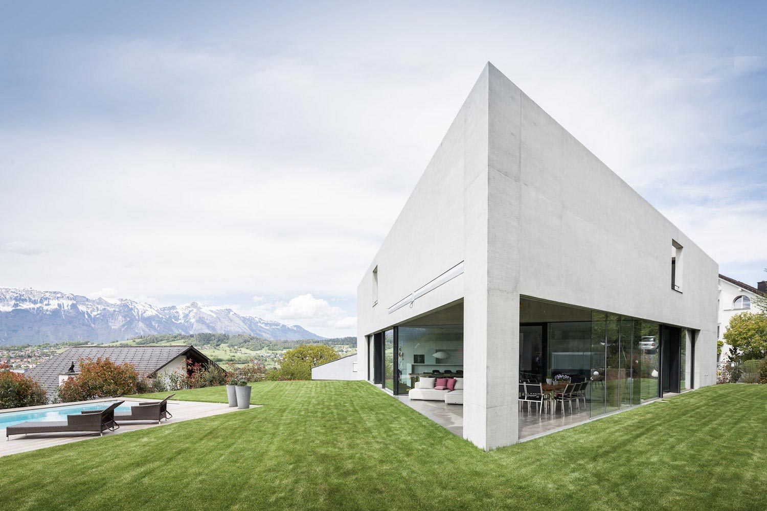 Monolithic triangle structure of a house high up on the
