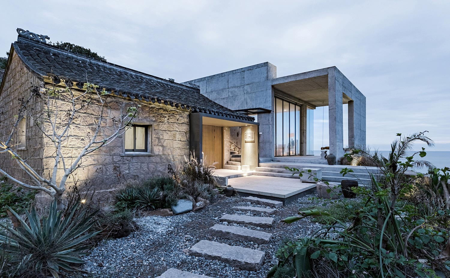 Rural house renovation where modernday aesthetics and old remains thrive in coexistence