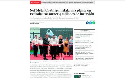 Nof Metal Coatings instala una planta en Pedrola tras atraer 4 millones de inversión