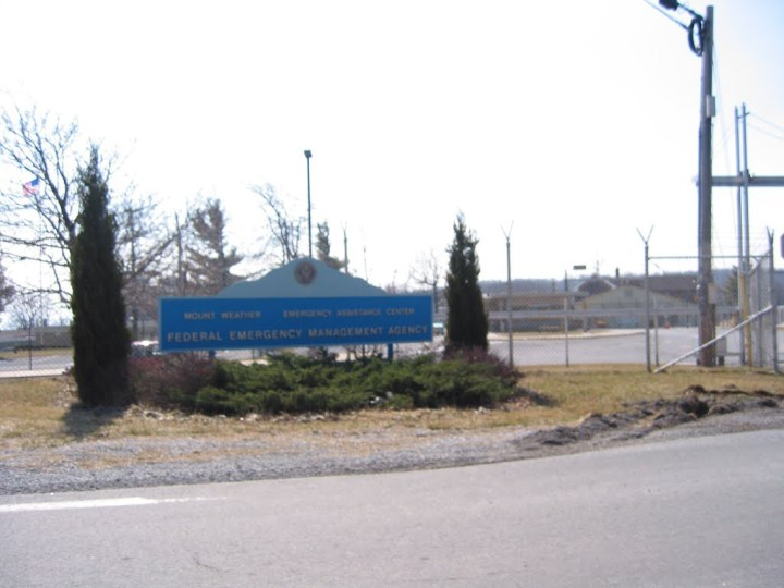 "Another entrance sign reads ""Mount Weather Emergency Assistance Center; Federal Emergency Management Agency"" also known as FEMA."