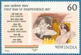 Another Indian stamp commemorating the 1857 Rebellion. But with emphasis on the last Peshwa and the last Nawab of Awadh (his mother Begum Hazrat Mahal).