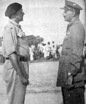 Major General El Edroos (at right) surrendering to Major General (later General and Army Chief) Joyanto Nath Chaudhuri at Secunderabad on 17th Septemver 1948. Foes or Partners?