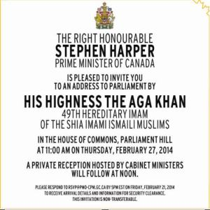 The current Agha Khan's address to the Canadian Parliament was an
