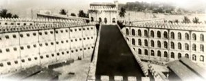 A rare photo of the Cellular Jail with its seven wings, which housed 693 cells. It was called Cellular Jail because the spokes were so designed such that the face of a cell in a spoke saw the back of cells in another spoke. This way, communication between prisoners was impossible. They were all in solitary confinement. Prisoners were subject to torture and medical experiments. They would be dumped at sea when they died.