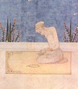 Mughal Emperor Aurangzeb praying.